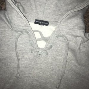Tops - LOWEST Grey Lace Up Pullover Hoodie